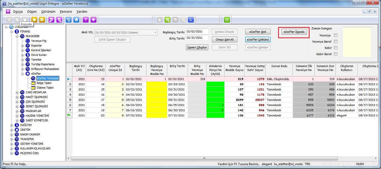 Login ERP e-Defter Uygulaması